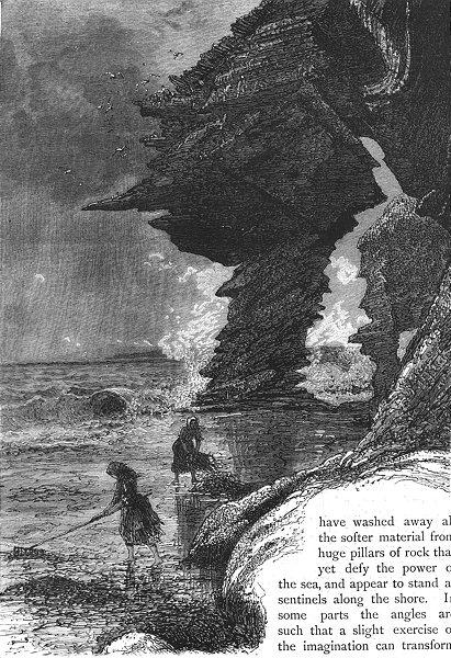 Associate Product IRELAND. Cliffs Kilkee 1888 old antique vintage print picture