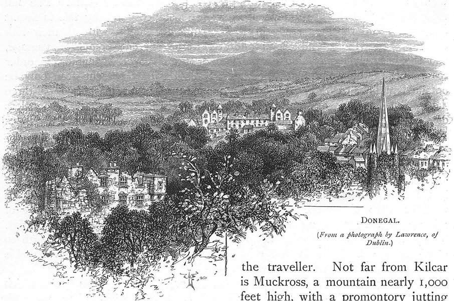 IRELAND. Donegal 1888 old antique vintage print picture