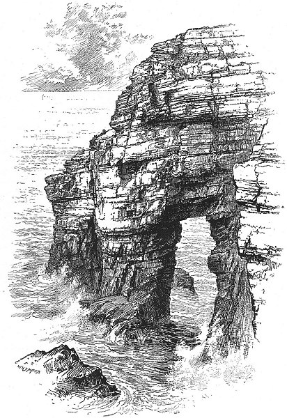 Associate Product IRELAND. Natural Arch, Horn Head 1888 old antique vintage print picture