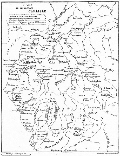 Associate Product DIOCESE OF CARLISLE. Abbeys Churches Priories Monasteries. CUMBRIA 1897 map