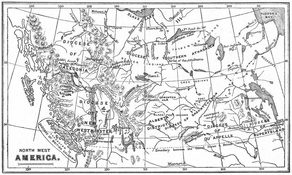 Associate Product ANGLICAN DIOCESE OF CANADA. Qu'Appelle Caledonia New Westminster &c 1897 map
