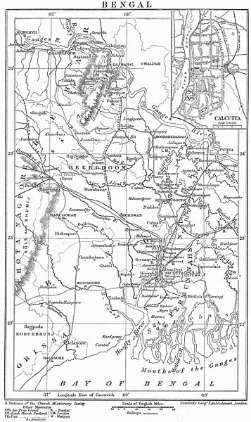 Associate Product BENGAL. Anglican Protestant Church Mission stations.Inset Culcutta 1897 map