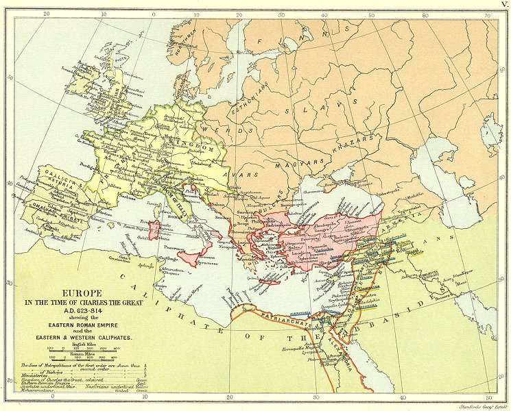 Associate Product EUROPE 623-814AD. Frankish Empire. Eastern Roman Empire. Caliphates 1897 map