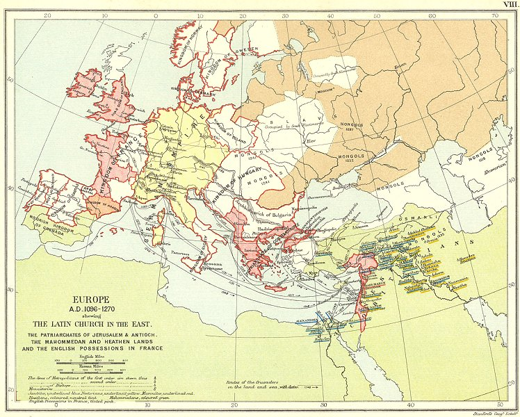 Associate Product RELIGIOUS EUROPE 1096-1270. Latin Church Patriarchates Monasteries 1897 map