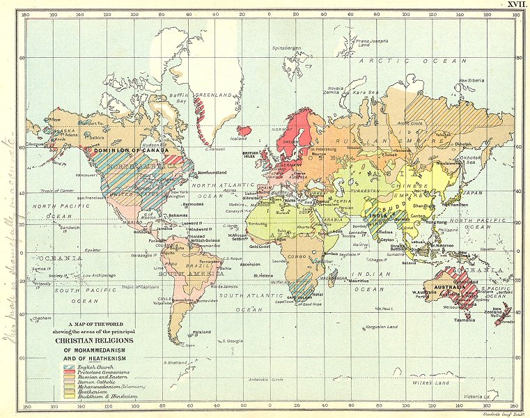 Associate Product WORLD RELIGIONS. Anglican Protestant Catholic Buddhism Islam Heathen 1897 map