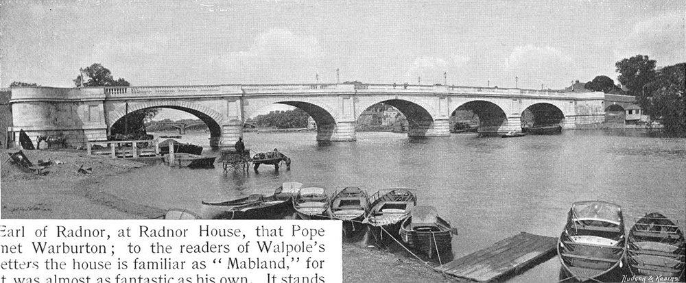 LONDON. Kingston bridge 1897 old antique vintage print picture