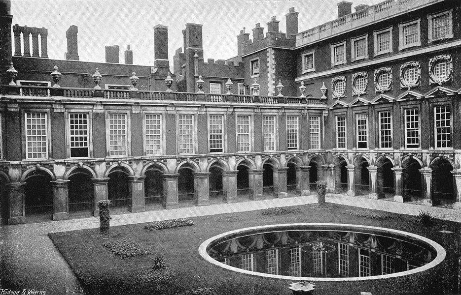 HAMPTON COURT. Fountain Court 1897 old antique vintage print picture