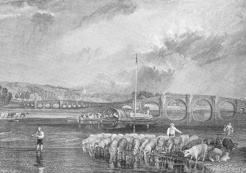 Associate Product LONDON. Walton bridge sheep fishing 1897 old antique vintage print picture