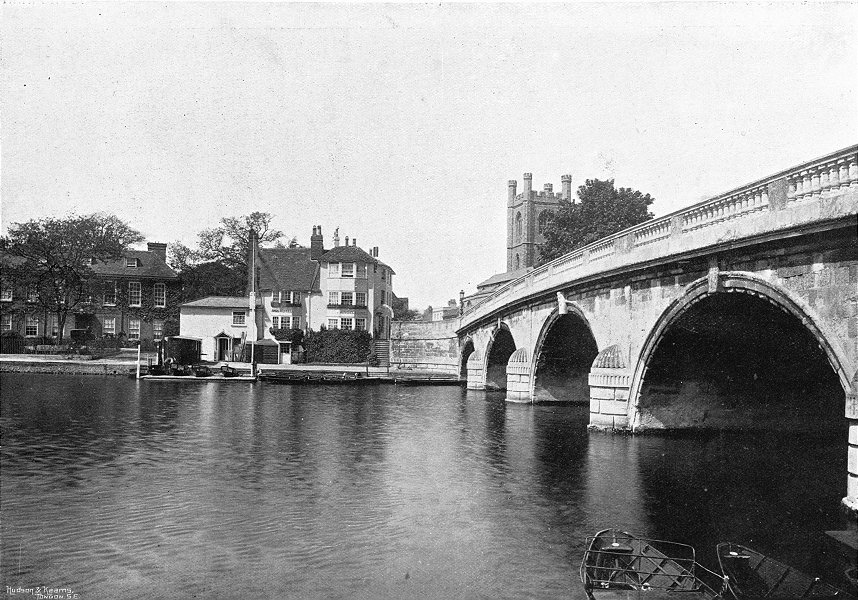 Associate Product OXON. Henley bridge & Angel 1897 old antique vintage print picture