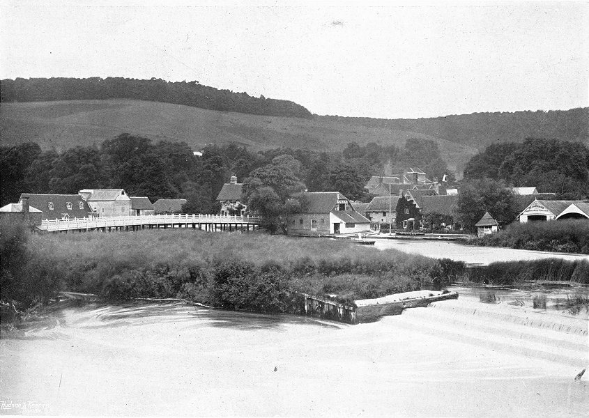 Associate Product BERKS. Streatley, from Goring Weir 1897 old antique vintage print picture