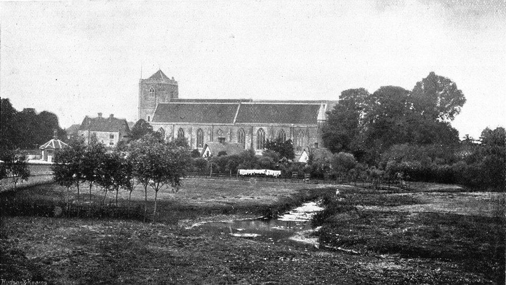 Associate Product DORSET. Dorchester Church & river Thame 1897 old antique vintage print picture