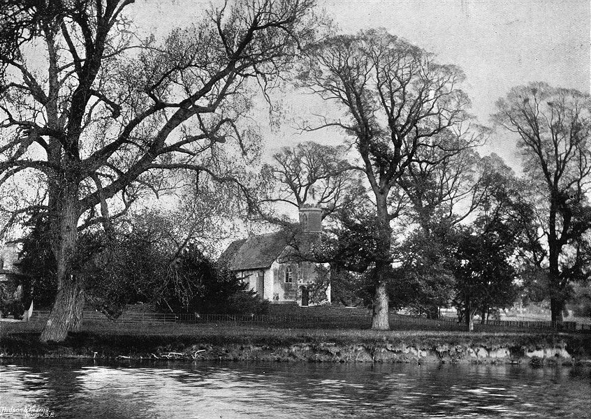 Associate Product OXON. Mongewell Church, from river 1897 old antique vintage print picture