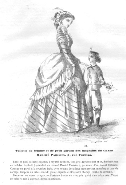 Associate Product FAMILY. Elegant Parisian mother and child 1869 old antique print picture