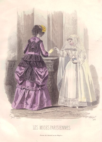 Associate Product FAMILY. Elegant Parisian mother and daughter. mauve 1869 old antique print