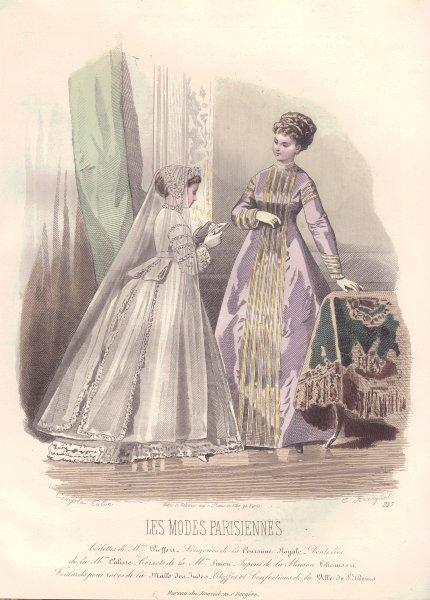 Associate Product FAMILY. Elegant Parisian mother & daughter. mauve 1869 old antique print