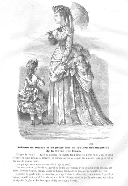 FAMILY. Elegant Parisian mother & daughter. Parasol 1869 old antique print