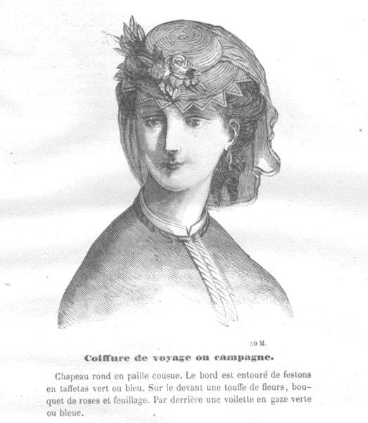 Associate Product FASHION. Elegant Parisian lady 1869 old antique vintage print picture