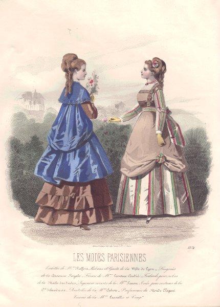 Associate Product FASHION. Elegant Parisian ladies. blue. brown 1869 old antique print picture