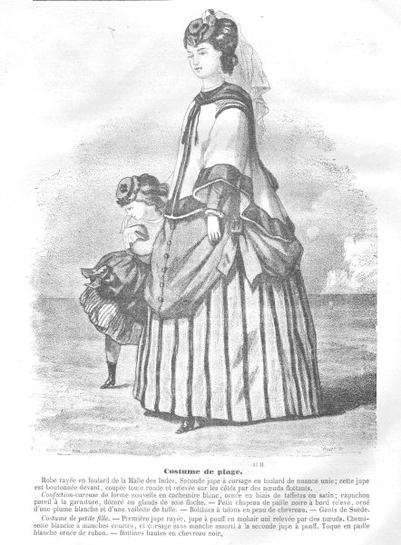 Associate Product FAMILY. Elegant Parisian mother and daughter 1869 old antique print picture