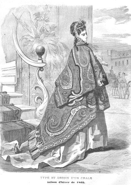 Associate Product FASHION. Elegant Parisian lady. Gown 1869 old antique vintage print picture