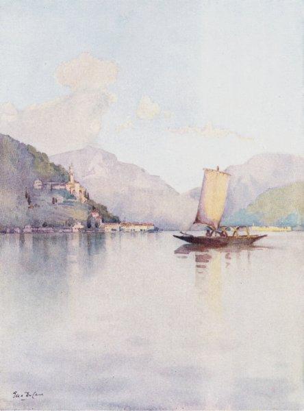 Associate Product ITALY. Lake Lugano. Morcote, Lago di Lugano 1905 old antique print picture