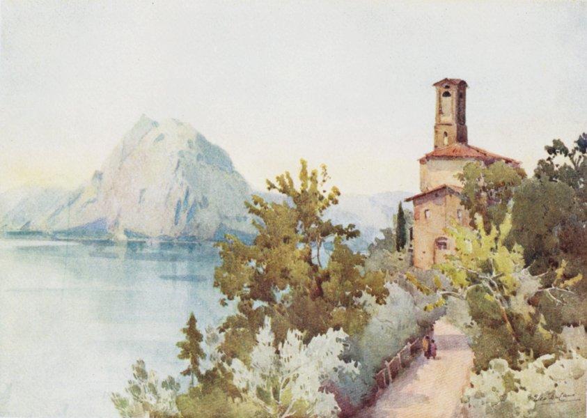 Associate Product ITALY. Lake/Lago di Lugano. Monte San Salvatore 1905 old antique print picture