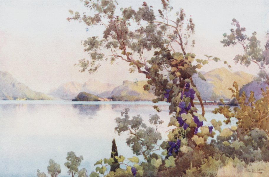 Associate Product ITALY. Lake Como. Evening, Lago di Como 1905 old antique vintage print picture