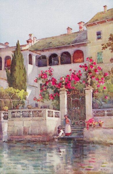 Associate Product ITALY. Lake Como. A Villa Garden, Lago d'Orta 1905 old antique print picture