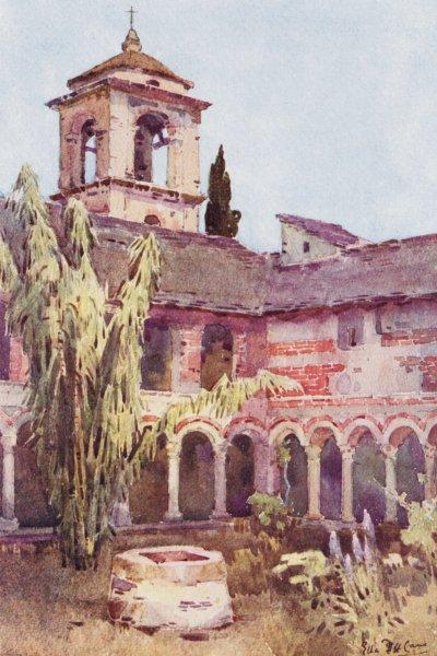 Associate Product ITALY. Lake Como. Chiostro di Fiona, Lago di Como 1905 old antique print