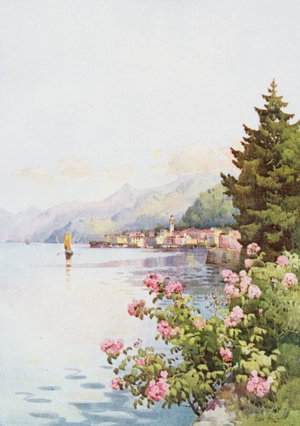 Associate Product ITALY. Lake. Lago di Como. Bellagio from Villa Melzi 1905 old antique print