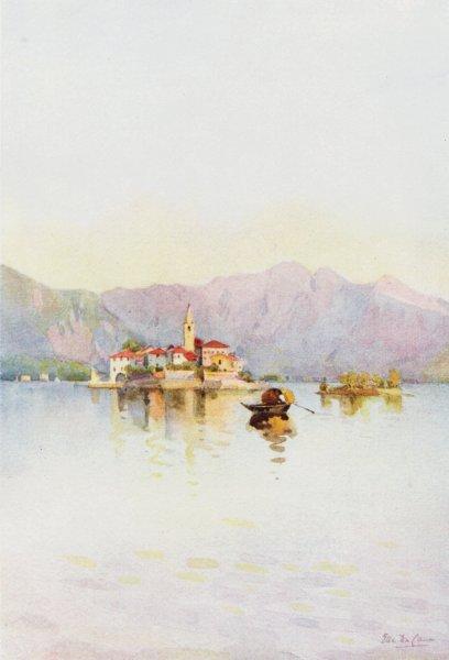 Associate Product ITALY. Lake Maggiore. Isola Pescatori, Sasso di Ferro 1905 old antique print