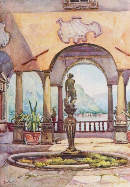 Associate Product ITALY. Lake. Lago di Como. The Loggia, Villa Pliniana 1905 old antique print