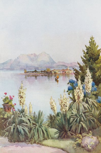 Associate Product ITALY. Lago di Maggiore. Isola Pescatori from Baveno 1905 old antique print