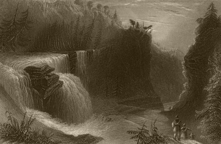 Associate Product Trenton Falls, view down the Ravine, New York. WH BARTLETT 1840 old print