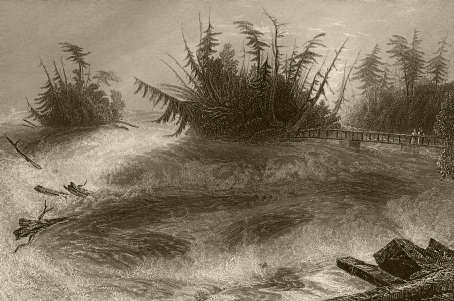 Associate Product The Rapids above the Falls of Niagara, New York. WH BARTLETT 1840 old print