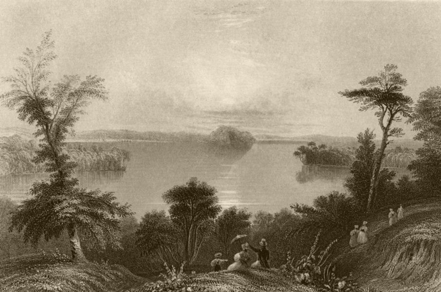 Associate Product Saratoga Lake, New York. WH BARTLETT 1840 old antique vintage print picture