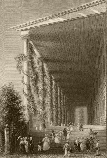 Associate Product The Colonnade of Congress Hall (Saratoga Springs), New York. WH BARTLETT 1840
