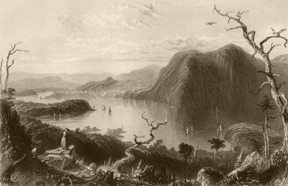 Associate Product Crow-Nest, from Bull Hill (Hudson River), New York. WH BARTLETT 1840 old print