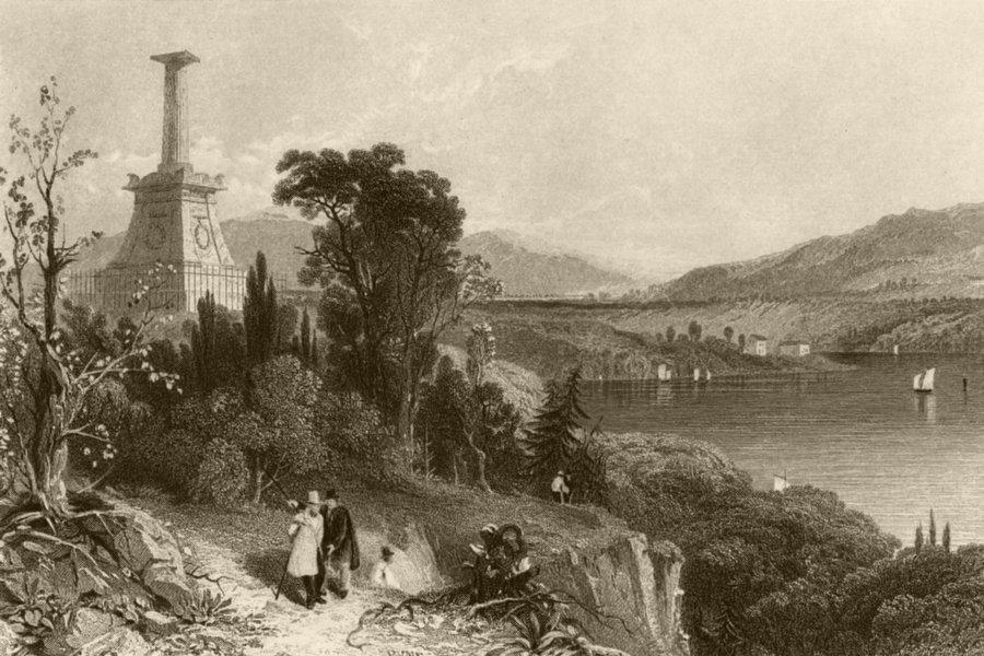 Associate Product Kosciusko's Monument, New York. WH BARTLETT 1840 old antique print picture