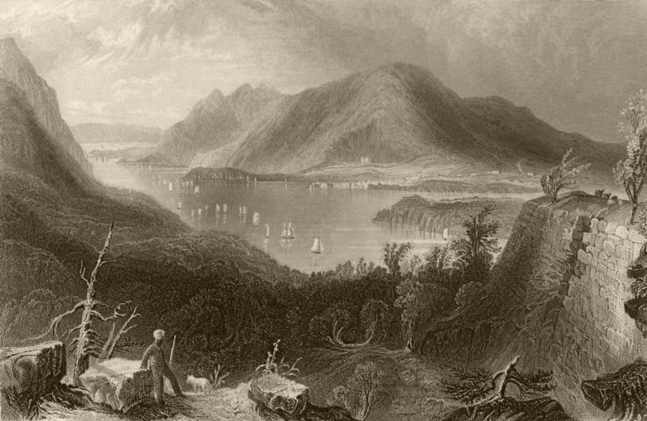 Associate Product View from Fort Putnam (Hudson River), New York. WH BARTLETT 1840 old print