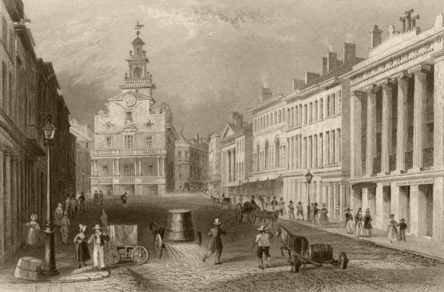 Associate Product State Street, Boston, Massachusetts. WH BARTLETT 1840 old antique print