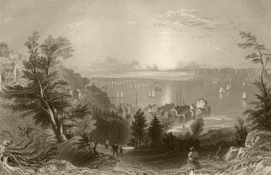 Associate Product Village of Sing-Sing (Hudson River), New York. WH BARTLETT 1840 old print