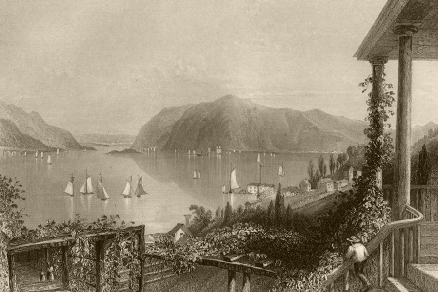 Associate Product View from Ruggle's House, Newburgh (Hudson River), New York. WH BARTLETT 1840