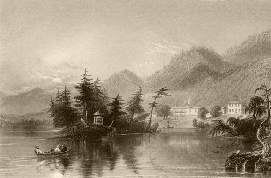 Associate Product Caldwell (Lake George), New York. WH BARTLETT 1840 old antique print picture
