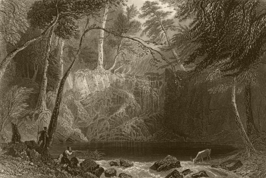 Associate Product The Indian Falls near Cold-Spring, opposite West Point, New York. BARTLETT 1840