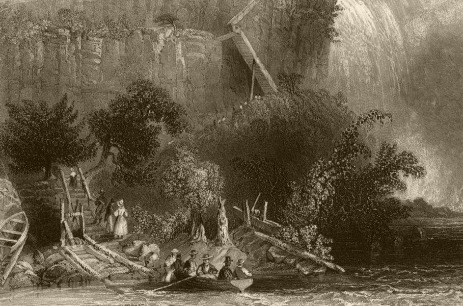 The Landing, on the American side (Niagara Falls), New York. WH BARTLETT 1840