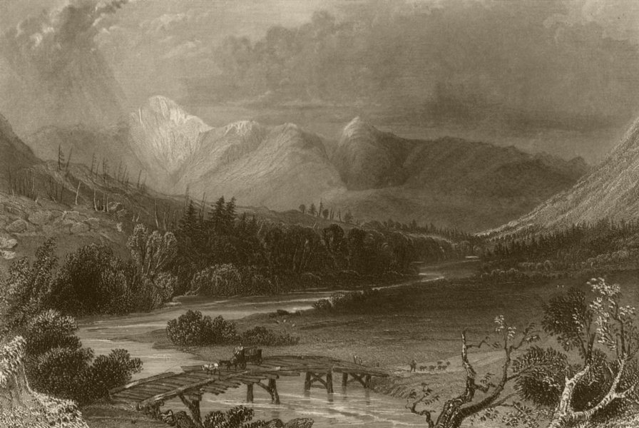 Associate Product Mount Washington & the White Hills, New Hampshire. WH BARTLETT 1840 old print
