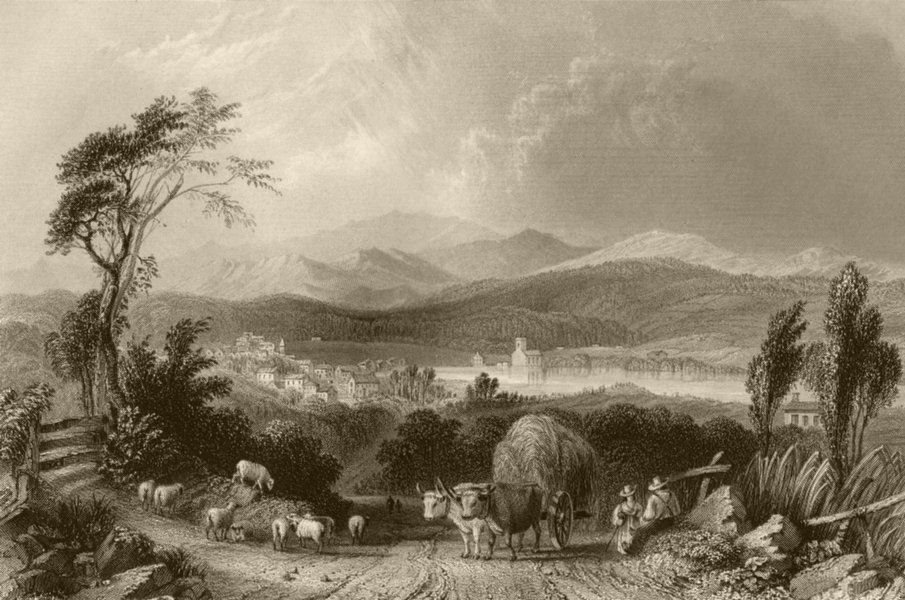 Associate Product View of Meredith (New Hampshire), New Hampshire. WH BARTLETT 1840 old print