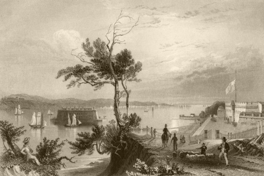 Associate Product The Narrows (from Fort Hamilton), New York. WH BARTLETT 1840 old antique print