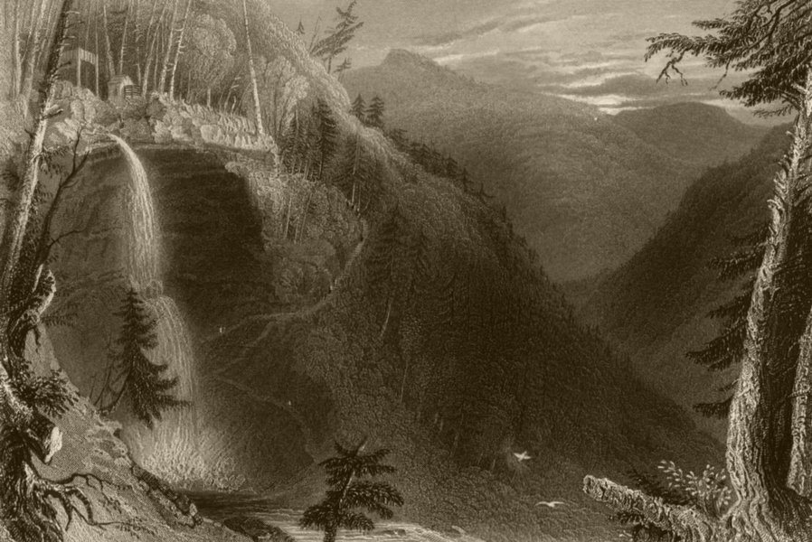 Associate Product The Catterskill Falls (from above the Ravine), New York. WH BARTLETT 1840